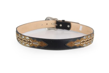 Black Shoulder with Tan Inlay Hand lacing and Diamond Studs