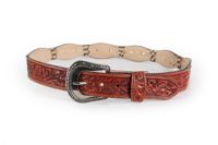 Cognac Hand tool billet hair-on Scalloped Edge Concho
