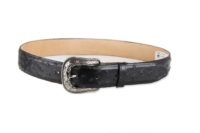 Embossed Ostrich Print Black with Removable Antique Silver Buckle