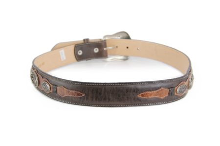 Chocolate Brown with Cognac Overlays and Longhorn Conchos