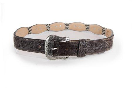 Dark Brown Hand tool billet hair-on Scalloped Edge Concho