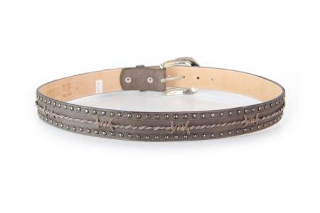 Distressed Brown with Leather Barbwire and Stud Detail
